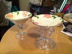 Thrift shop creation! Glass candle holders plus floral plates.  Glue together for a DIY soap dish or jewelry holder.