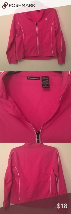Pink champion jacket Adorable and comfortable. Zipper sleeves and front. Practically brand new besides the wrinkles. Size large but would fit medium as well. Champion Jackets & Coats