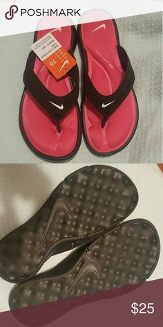 Brand new Nike sandals Pink and black Nike flip flops. Women's  Size 10. New with tags. Nike Shoes