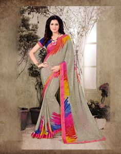 Beige Satin Printed Saree With Blouse 69071