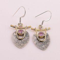 Pink Topaz Sterling Silver Two Tone Earrings - keja jewelry