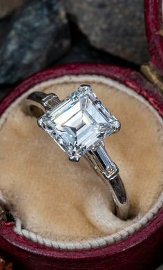 Cartier Vintage 2 Carat Diamond Engagement Ring. Sku REM17597. Emerald Cut Diamond Engagement Ring, Emerald Cut Diamonds, Vintage Engagement Rings, Diamond Cuts, Diamond Rings, Modern Jewelry, Contemporary Jewellery, Vintage Jewelry, Art Nouveau Jewelry