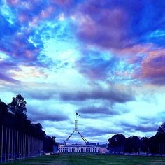 """Instagrammer @ratih_maria_dhewi captured this """"glorious sky over the Parliament House"""". While Canberra may be better known as the political hub of Australia, it's also an evolving city described by The New York Times as having 'big-sky beauty, breezy civic pride and a decidedly hipster underbelly'. What do you love about the capital? #visitcanberra"""
