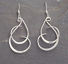 Sterling Dangle Earrings - Handmade Forged Dangles - CURLY Q #homemadeearrings
