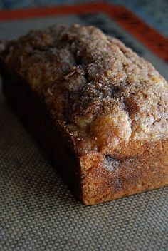 "cinnamon swirl banana bread recipe - just made this recipe but used it to make muffins instead (cooked at 425F for 15 minutes) - put in a scoop of batter, then cinn/sugar, then more batter and more cinn/sugar. they cook up a little crusty on the outside, but so moist and delish on the inside!! can't wait for some more bananas to become ""too"" ripe!! :)"