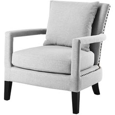 Eichholtz Chair Gregory Grey ($855) ❤ liked on Polyvore featuring home, furniture, chairs, accent chairs, chair, house, studded chair, gray furniture, eichholtz furniture and contemporary chairs