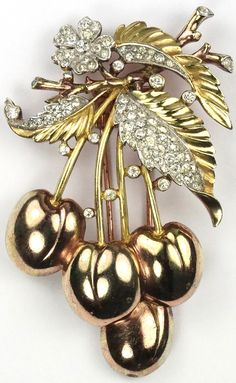 Trifari 'Alfred Philippe' Pave and Yellow and Rose Gold Cherries Pin