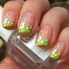 Nails Design French Tip Ring Finger Polka Dots Ideas French Nail Designs, Colorful Nail Designs, Cute Nail Designs, Funky Nails, Cute Nails, Pretty Nails, Spring Nails, Summer Nails, French Tip Nails