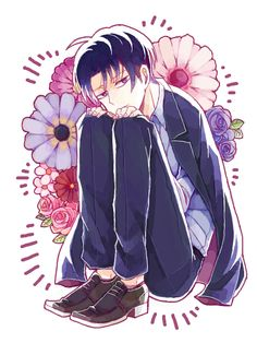 """Hmm? Why are you so quiet.. If you got something to say then say it."" *Rests chin on knees, murmurs.* ""I have a few words myself."" - Heichou"