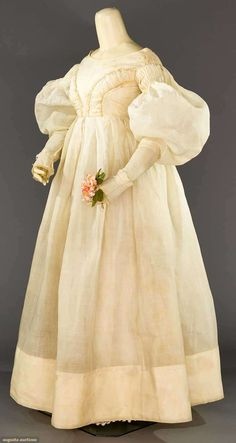 White Organdy Empire Gown, This is the most acceptable dress I've ever seen in my life. If I didn't know what the hair would look like I'd almost like it. 1800s Fashion, 19th Century Fashion, Victorian Fashion, Vintage Fashion, Vintage Outfits, Vintage Gowns, Vintage Mode, Historical Costume, Historical Clothing