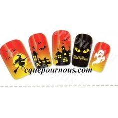Stickers d'ongles water decal HQ happy halloween frisson