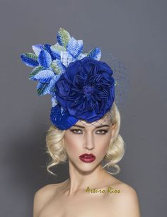 Fascinator de derby kentucky Royal bleu / vert bleu par ArturoRios