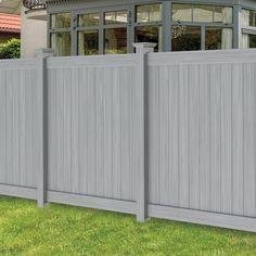 Freedom (Actual: x Hampton Woodgrain Gray Vinyl Flat-Top Vinyl Fence Panel at Lowes Vinyl Fence Panels, Privacy Fence Panels, Vinyl Fencing, Grey Fences, Fence Styles, Backyard Fences, Backyard Landscaping, Landscaping Ideas, Backyard Ideas