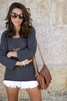 Three Outfits On Sunday ( Knitwear Sweaters & Bleached Denim Shorts )