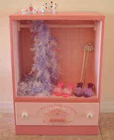 how to transform dresser into dress up wardrobe | old beat-up dresser. Now it is a special place for dress-up clothes ...