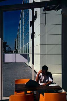 "Harry Gruyaert - Paris. Terrace of the MK2 cinema near the ""François Mitterrand""…"