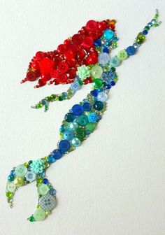 Handmade Ariel Inspired Embellishment canvas, made from buttons, gems, flower embellishments and Swarovski crystals 10x12£30 ☆Please note each canvas may vary slightly as they are handmade and unique