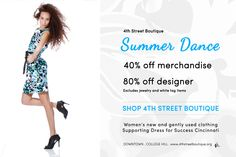 40% off merchandise, 80% off designer July 22-27 Downtown and College Hill