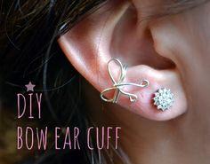 DIY Ear Cuffs : Diy bow ear cuff Can't wait to make one Ear Cuff Piercing, Piercings, Jewelry Crafts, Handmade Jewelry, Beaded Crafts, Personalized Jewelry, Jewelry Ideas, Diy Crafts, Wire Ear Cuffs
