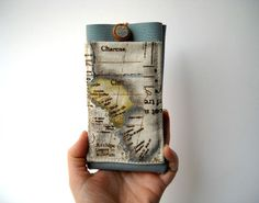 Map iPhone 6 cover case pale blue faux leather by Lunica on Etsy