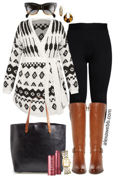 Plus Size Wrap Cardigan Outfit with Leggings and Wide Calf Boots. A trendy winter outfit idea. Plus Size Fashion for Women - Alexa Webb with leggings Plus Size Wrap Cardigan Outfit - Alexa Webb Winter Outfits For Teen Girls, Plus Size Winter Outfits, Office Outfits Women, Winter Outfits For Work, Winter Fashion Outfits, Plus Size Outfits, Trendy Outfits, Cute Outfits, Plus Size Legging Outfits