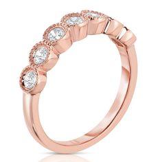 Noray Designs 14k Gold 1/2ct TDW 7-stone Diamond Milgrain Ring (G-H, I1-I2) (Rose Gold - Size 6.5), Women's, Pink