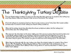 Adorable Thanksgiving Writing Activity! Students practice writing a clear set of directions to create a turkey disguise to exchange with another student.