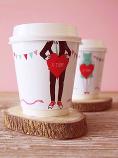 DIY 'Je t'aime' coffee cup wrappers by Eat Drink Chick. Make one for yourself:  http://www.eatdrinkchic.com/post.cfm/diy-je-t-aime-coffee-cup-wrappers