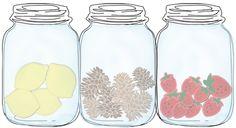 Three #free printable mason jar invitations (3 separate jars-lemons, pine cones & strawberries)