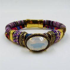 Chunky boho style bracelet with oval crystal