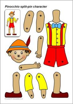 A set of printable body parts which can be assembled into a Pinocchio puppet using split-pins. Pinocchio, Paper Puppets, Paper Toys, Paper Crafts, The Marionette, Robots Characters, Vintage Paper Dolls, Craft Activities, Creative Art