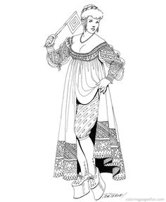 Renaissance Costumes and Clothing Coloring Pages 30