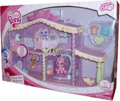 "My Little Pony Newborn Cuties Series Electronic Playset with Light and Sound - Pinkie Pie's Playhouse with Pinkie Pie Pony Figure, Crib, Swing, Pull Toy, Teddy Bear Toy, Milk Bottle and Bowl (Other Pony Figure Sold Separately) by Hasbro. $44.99. Press button for music, light and sound. Require 3 ""AAA"" batteries (Included). Pinkie Pie sleeps, swings, and goes potty in her playhouse. For age 3 and up. Playhouse set includes: Pinkie Pie Pony Figure, Crib, Swing, Pull T..."