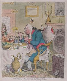 """""""Temperance Enjoying a Frugal Meal"""" by James Gillray (1792) at the Museums Sheffield, Sheffield - This cartoon satirizes the ways of King George III and Queen Charlotte, who lived in a very austere manner compared to their son, the Prince of Wales. Here, the royal couple is shown in patched clothes and eating eggs and salad, both of which (especially the latter) were considered commoners' food. Also, they are drinking water rather than wine, which was odd for an aristocratic household."""
