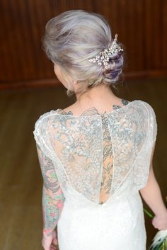 Botanical Luxe wedding inspiration with Sophie Bowdler Photography (38) Halfpenny London wedding dress, tattoed bride, wedding ideas