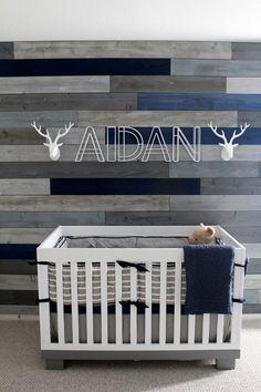 https://flic.kr/s/aHskaaDcNC | Aidan\'s Nursery | Officially ready for Aidan\'s arrival! Our take on a rustic nursery that he can grow into. #HomeGoods #TJX #Babyletto #Nursery #Navy&Grey #Rustic #NavyandGrey