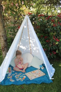 THis backyard tee-pee takes only minuets to put-up/take-down!  Perfect for kids in the yard.