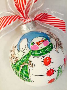 Color-filled Snowman Ornament, personalized and hand-painted