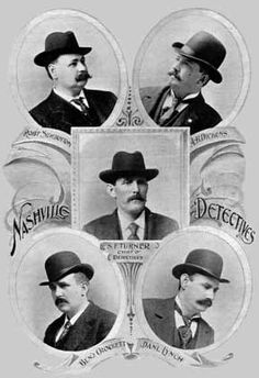The Nashville Detective Department in 1897. Detectives Robert J. Sidebottom and Allay Hiram Dickens at the top, Chief of Detectives, Lieutenant Samuel Fields Turner in the center and Detectives Benjamin Anthony Crockett and Daniel Lynch at the bottom. Robert Sidebottom served briefly as chief of police in 1898 and for many years afterwards as chief of detectives.