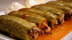 Stuffed zucchini recipe (kousa mahshi) (Omit meat and replace with chick peas for veggie version)