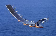 The first flight of solar powered airplane, Solar has generated a wave of optimism and given a hint of what is next in the travel world! The journey of a sleek, solar-powered plane from Solar Energy, Solar Power, Renewable Energy, Electric Aircraft, Nasa History, Experimental Aircraft, Alternative Energy, Gliders, Military Aircraft