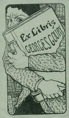 Emil Cardinaux – Ex libris George Goury was one of the masters of prehistoric France Ex Libris, Library Posters, Book Labels, Personalized Books, Book Images, Tampons, Bookbinding, Easy Drawings, Oeuvre D'art