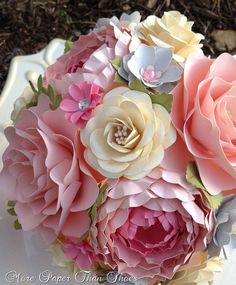 Paper Flower Bouquet - Wedding Bouquet - Shabby Chic - Pink and Grey - Made to Order - Any Color Combo by morepaperthanshoes on Etsy https://www.etsy.com/listing/173925339/paper-flower-bouquet-wedding-bouquet