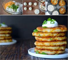 Simple way to make pancakes from mashed potatoes. Great for leftover mashed potatoes from a big thanksgiving family dinner, or make your fresh mashed potatoes just for these cheesy and yummy pancak...
