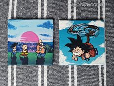 I painted these tiny canvases with acrylics and I have to say it was not easy. I still have to learn how to mix colours. But im trying to get better and this process is always fun when im painting my favorite characters.  Instagram : bibijaydorian Im Trying, Canvases, Acrylics, Color Mixing, Dragon Ball, Anime Characters, Kids Rugs, Colours, My Favorite Things