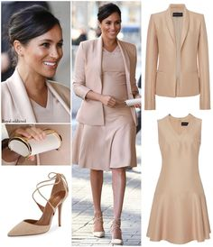 "Royal Addicted on Instagram: ""Duchess of Sussex Style! Dress: Brandon Maxwell; Blazer: Brandon Maxwell; Shoes: Aquazzura; Clutch: Carolina Herrera; Earrings: Ecksand💕 .…"""