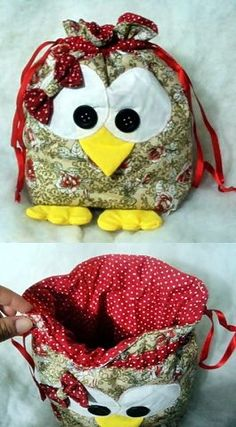 buhos who will help me make this? Fabric Crafts, Sewing Crafts, Sewing Projects, Owl Patterns, Sewing Patterns, Owl Bags, Owl Crafts, Craft Bags, Quilted Bag