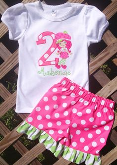 Strawberry Shortcake birthday outfit via Etsy