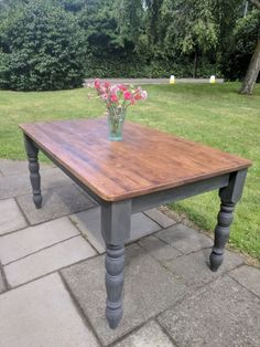 Rustic wooden farmhouse dining table idea