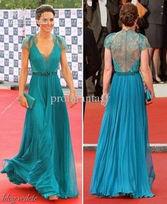 Wholesale Formal Dresses - Buy Princess Kate Middleton Celebrity Fashion Green Formal Gowns V-Neck Cap Sleeves Nude Lace Button Back Chiffon...